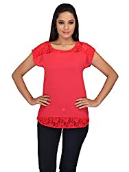 lol RED Color Plain Casual Top for women