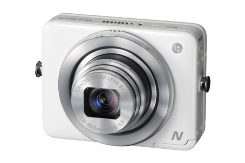 Canon PowerShot N Compact Digital Camera - White (12.1 MP, 8x Optical Zoom) 2.8 inch Touchscreen LCD