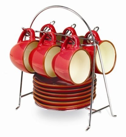 Imusa 12-Piece Espresso Set with Chrome Storage Rack, Red (Red Espresso Set compare prices)