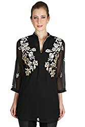 Black and Gold Georgette Kurti