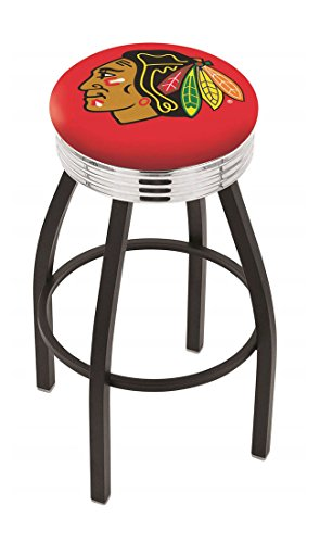 "30"""" L8B3C - NHL Black Wrinkle Chicago NHL Blackhawks Logo Swivel Bar Stool with Chrome 2.5"""" Ribbed Accent Ring-By BlueTECH"