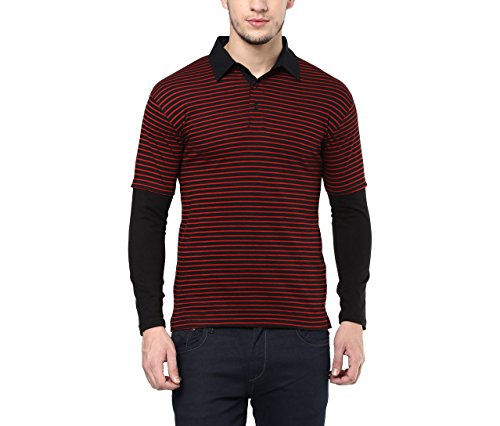 Hypernation-Red-and-Black-Stripe-Cotton-Polo-T-shirt-For-Men
