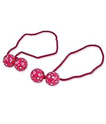 Trendy Baubles Fuchsia & White Polka Ball Rubberband For Girls