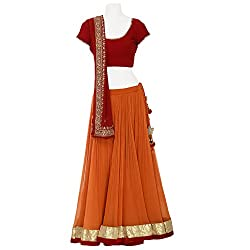 Moh Orange Lehenga Set