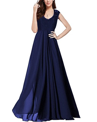 OFTEN Women's Chiffon Bridesmaid Deep-V Neck Sleeveless Vintage Maxi Dress, Medium, Blue