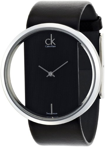 Calvin Klein Quartz, Genuine Black Leather Strap with Crystal Clear Dial - Women's Watch K9423107