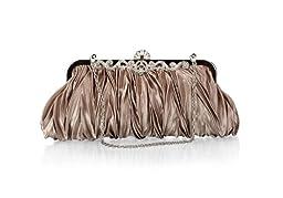 Bundle Monster Womens Vintage Satin Cocktail Party Handbag w/Shoulder Chain-TAUPE