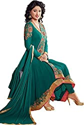 Shayona Enterprise Women's Brocade & Georgette Unstitched Dress Material (hz2-54007_Green_Free Size)
