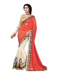 Faux Georgette Saree In Orange Colour For Party Wear