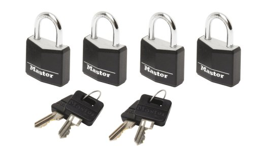 master-lock-luggage-lock-4-x-vinyl-covered-aluminium-padlocks-keyed-alike-black-9120eurqblknop