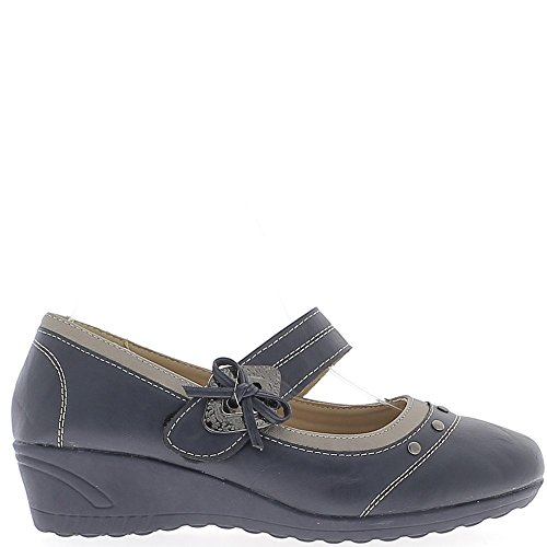 Chaussures femme bleues confort talon compensé de 4cm liseré bronze