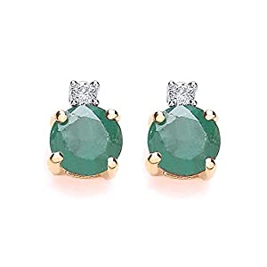 Chic 9ct Gold Emerald and Diamond Stud Earrings