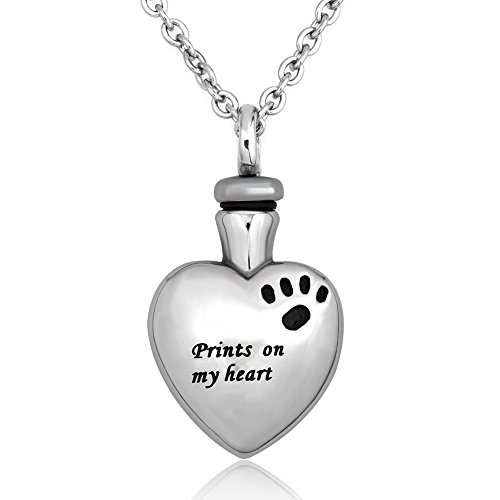 LuckyJewelry Pet Memorial Dog Cat Paw on My Heart Cremation Urn Necklace Stainless Steel Ash Keepsake Pendant (Pet Dog Urns compare prices)