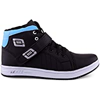 ZEELAND Mens Men's Blue & Black Velcro Ankle Length Synthetic Leather Casual Shoes-7