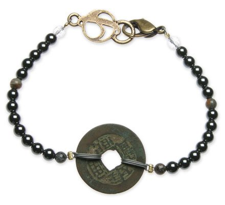 "Hematite ""Grounding"" Bracelet with Chinese Coin – 4mm beads – 7 1/2″"