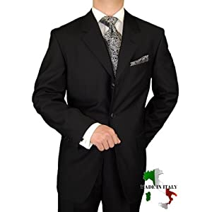 Gino Valentino 3 Button Made in Italy Jacket Plus Pants Custom Working Buttonholes Business Suit Jet Black
