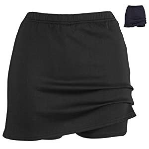 i-sports Pro Skort For Girls Performance Base Layer Outer Skirt & Under Short Black 13-14 Years