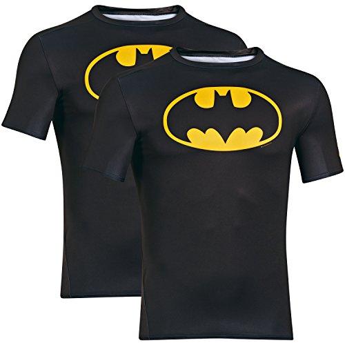 UNDER ARMOUR shirt compressione supereroe 2 Pack per gli uomini, Batman, Capitan America, Flash, Superman, Punisher (Batman nero, XXL)