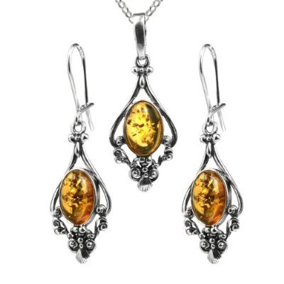 Certified Genuine Baltic Honey Amber and Sterling Silver Dangling Style Filigree Pendant and Earrings Set, Rolo Chain 18