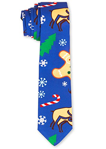 Men's Holiday Naughty Ties Christmas Suit Necktie in Blue By Festified (Ugly Ties For Men compare prices)