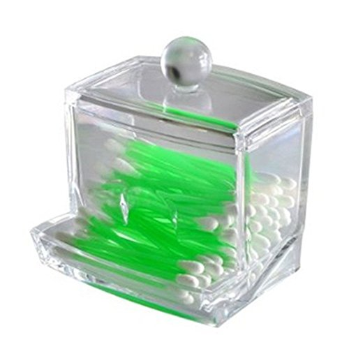 SAGUARO® Clear Acrylic Cotton Balls Swabs Holder / Women Hair Accessories Box / Cosmetic Makeup Organizer Powder Storage Case / Jewelry Organizer