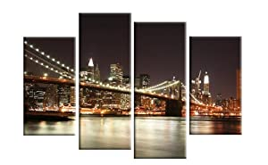 "Large York at Night 4 Panel Canvas Ready to Hang Hanging Template included 40"" UK company by CANVAS INTERIORS"