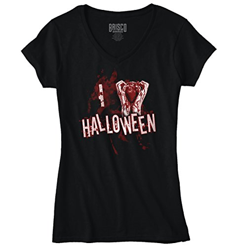 Funny Halloween Womens V Neck T Shirt Haunted House Upstairs Spooky Attic