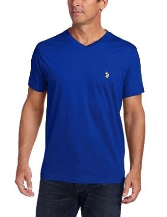 U.S. Polo Assn. Men's V-Neck Short Sleeve T-Shirt, Cobalt Blue/Yellow, Small