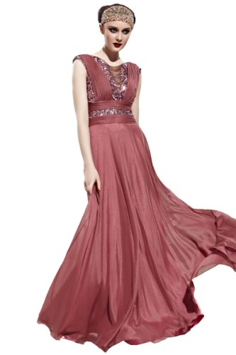CharliesBridal Scoop Neck Floor Length Formal Dress - L - Wine Red