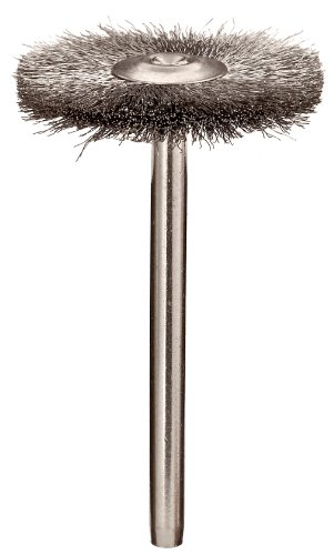 "Weiler 0.003"" Wire Size, 1"" Diameter, 302 Stainless Steel Bristles, 1/8"" Stem Size, Wire Fill, Miniature Wire Wheel Brush"