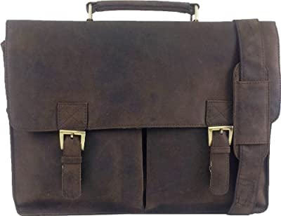Unicorn Real Leather 164 Laptop Bag Messenger Briefcase Brown 4f