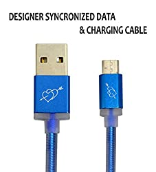 Hello Zone Exclusive Designer Series Micro USB Data Charging/Sync Cable for Adcom KitKat A35 -Blue with Heart Design