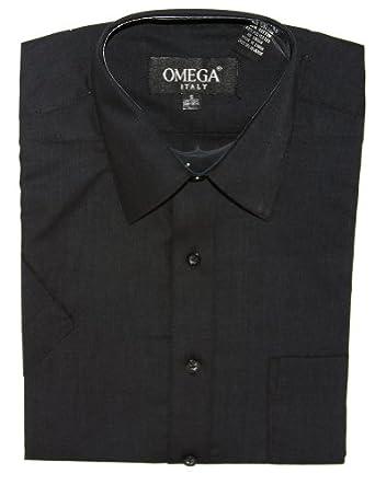 Omega Mens Dress Shirt Short Sleeve Button Down Shirt, S Black
