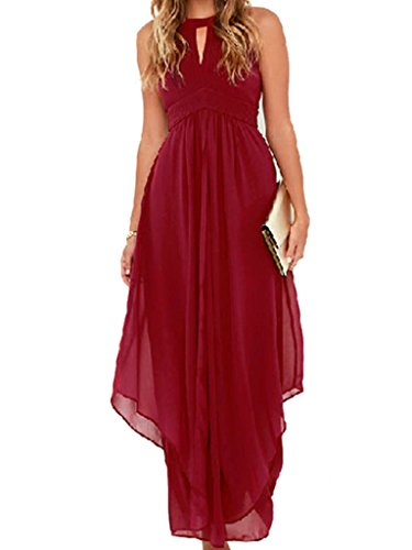 Clothink Women Burgundy Chiffon Halter High Waist Ruched Maxi Dress L