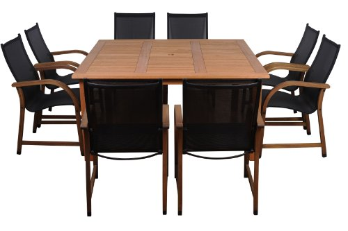 Amazonia Bahamas 9-Piece Eucalyptus Square Dining Set photo