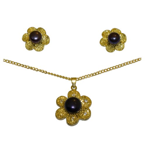 Yellow Gold Necklace w/ Dark Pearls Jewelry Set