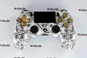 """Money Talks"" PS4 Custom Controller w/ Real Gold 9mm Bullet Casing for Triangle, Square, Circle & X Buttons"