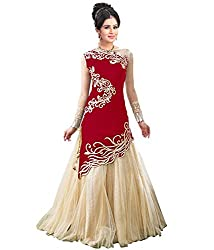 FabTexo Red Color Velvet & Net Princess Cut Embroidered Semi_Stiched Lehenga Choli For Women(Zoya_Red_Free Size)