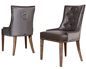 Uptown leather velvet dining chair set of 2 for Dining room furniture uk