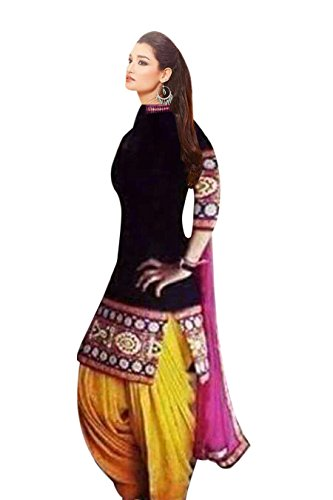 AIKA Black & Yellow Patiyala Salwar Suit Unstitch