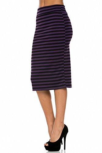 Sassy Apparel Women's Elastic Below Knee Stripes Design Pencil Skirt (Small, Eggplant)