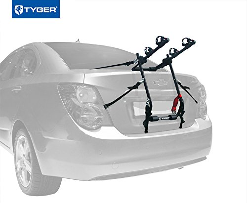 TYGER® Deluxe Black 2-Bike Trunk Mount Bicycle Carrier Rack. (Fits most Sedans/Hatchbacks/Minivans and SUVs.)
