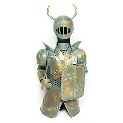 """Metal Medieval Knight Armor with Axe Bottle Cover, Wine Holder, 13"""" Tall"""