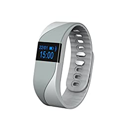 TopSun Bluetooth 4.0 Wireless Smart Bracelet Heart Rate & Sleep Monitor Fitness Tracker Pedometer with OLED Display for Android 4.4+, IOS 7.1+ (Grey)