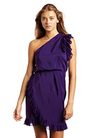 Amanda Uprichard Women's Dusty One Shoulder Dress, Purple, Petite