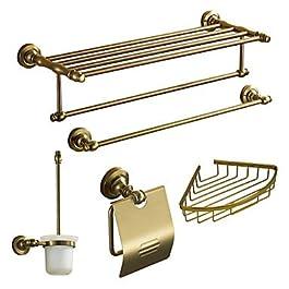 DiaosiTM Accessori da bagno Set, Antico 5 pezzi d'oro anodizzazione alluminio Set Hardware