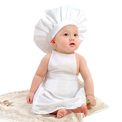 Scute Baby White Cook Costume Photos Photography Prop Newborn Infant Hat Apron