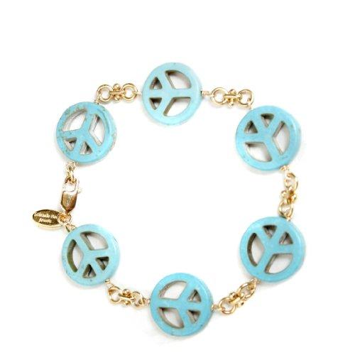 Soixante Neuf Stationed Turquoise Peace Sign Bracelet