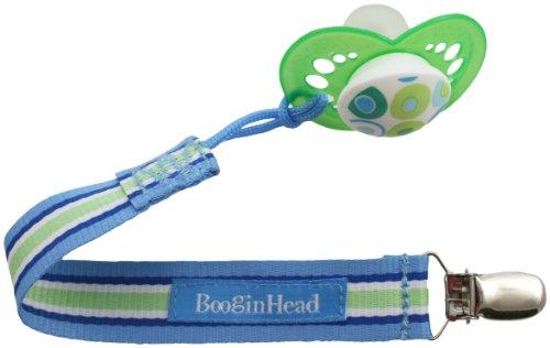 Booginhead Pacifier Holder, Blue/Green/White