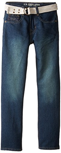 U.S. Polo Assn. Big Boys' Belted Flap Pocket Straight Leg Jean, Medium Blue Wash, 16